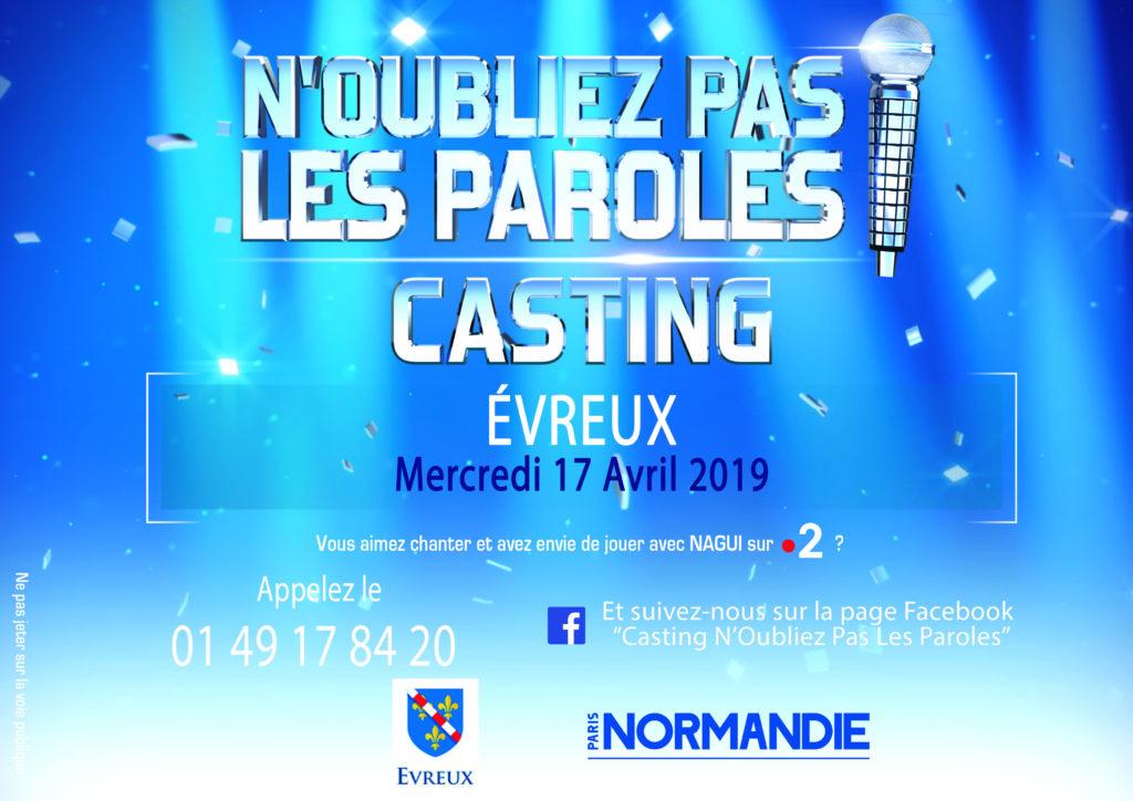 Affiche casting Evreux 17-04-19