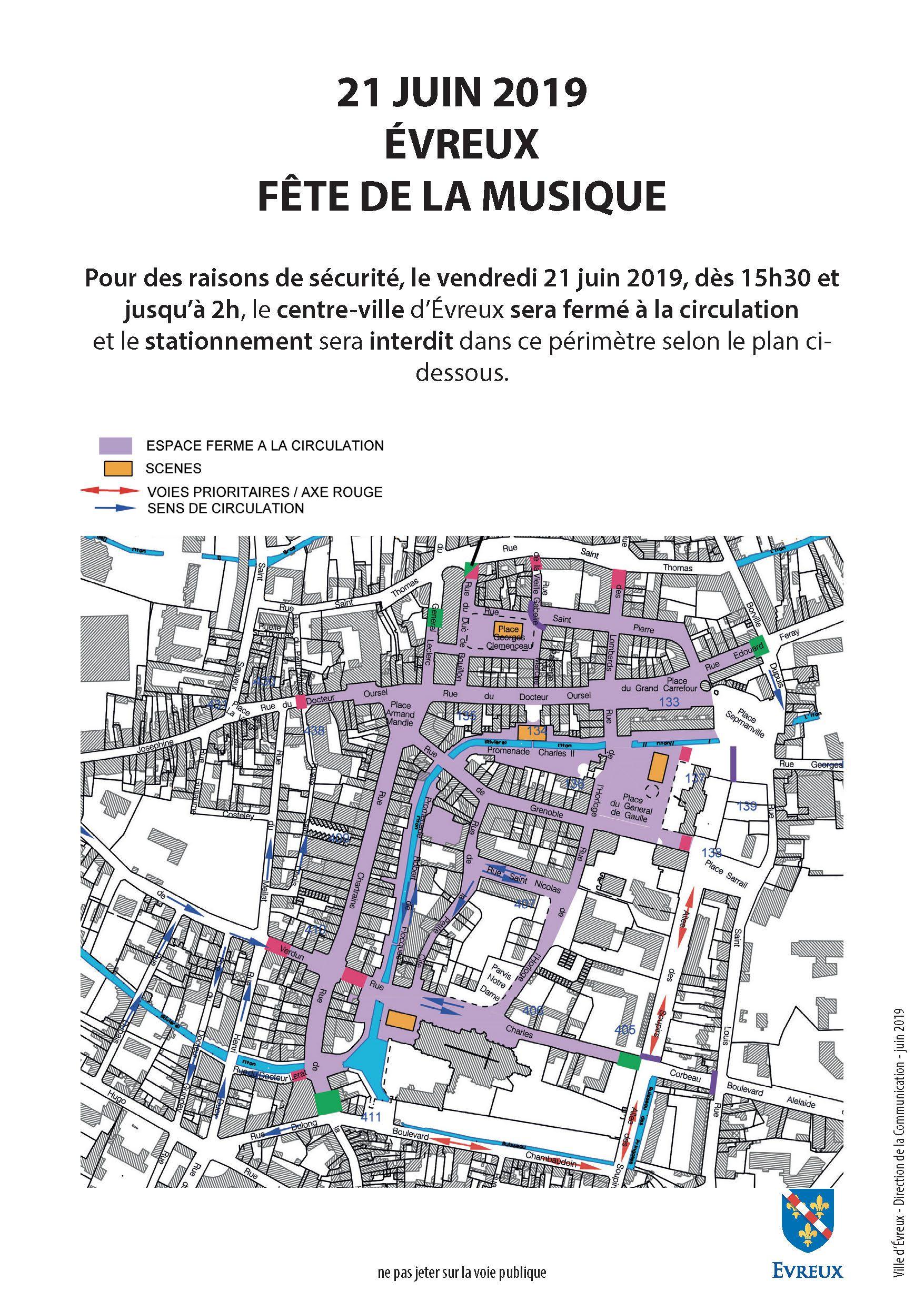 Plan de circulation du 21 juin en centre-ville