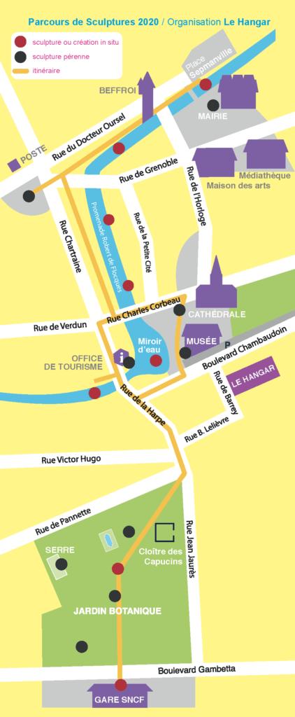 Plan du parcours de sculptures dans Evreux