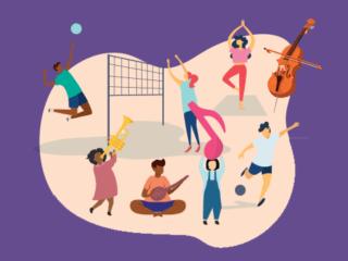 Illustrations de jeunes faisant différentes activités culturelles et sportives