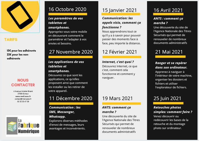 Programmation des ateliers de la Maison de l'Enfant et des Découvertes 2020/2021