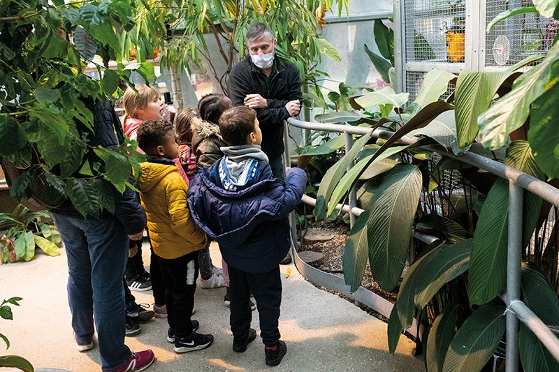 animation pédagogique pour les enfants dans la serre botanique