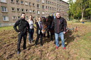 agents et éleveurs aux côtés des chevaux